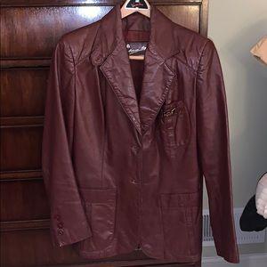 Vintage Etienne Aigner Red Leather Jacket Size 14